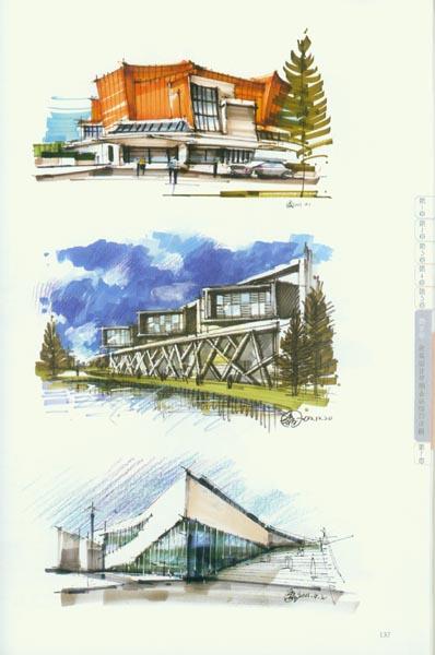 建筑物线稿的绘制,配景的空间层次与表现,马克笔笔法规律,马克笔上色