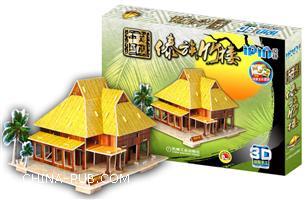 傣族竹楼-美丽中国-爱拼-3D益智手工-附赠精美全彩图册