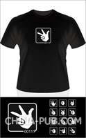Binary Finger(男款)-L号-黑色 纯棉T恤
